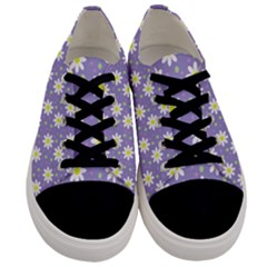 Daisy Dots Violet Men s Low Top Canvas Sneakers