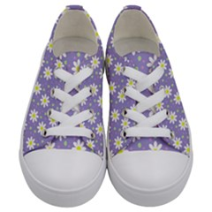 Daisy Dots Violet Kids  Low Top Canvas Sneakers