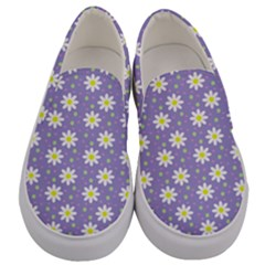 Daisy Dots Violet Men s Canvas Slip Ons