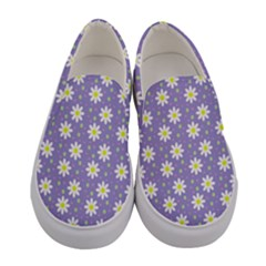 Daisy Dots Violet Women s Canvas Slip Ons
