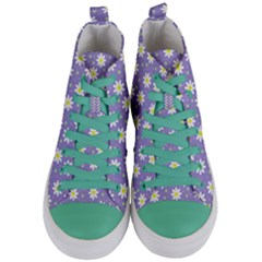 Daisy Dots Violet Women s Mid Top Canvas Sneakers