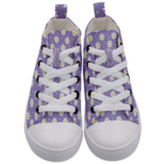 Daisy Dots Violet Kid s Mid Top Canvas Sneakers
