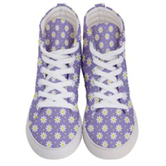 Daisy Dots Violet Men s Hi Top Skate Sneakers