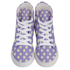 Daisy Dots Violet Women s Hi Top Skate Sneakers
