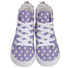 Daisy Dots Violet Kid s Hi Top Skate Sneakers