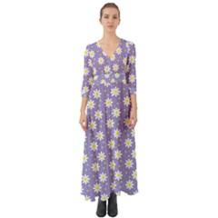 Daisy Dots Violet Button Up Boho Maxi Dress