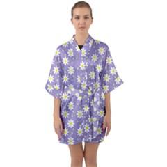 Daisy Dots Violet Quarter Sleeve Kimono Robe
