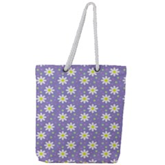 Daisy Dots Violet Full Print Rope Handle Tote (large)