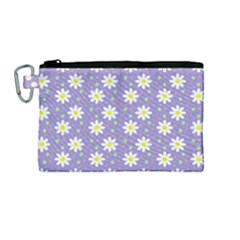 Daisy Dots Violet Canvas Cosmetic Bag (medium)