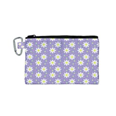 Daisy Dots Violet Canvas Cosmetic Bag (small)
