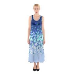 Blue Disintegrate Sleeveless Maxi Dress