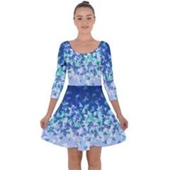 Blue Disintegrate Quarter Sleeve Skater Dress