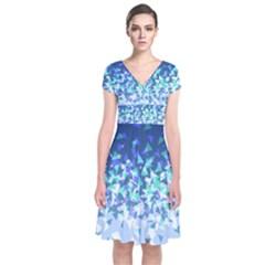 Blue Disintegrate Short Sleeve Front Wrap Dress