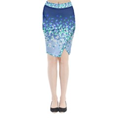 Blue Disintegrate Midi Wrap Pencil Skirt