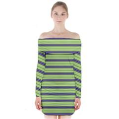 Color Line 2 Long Sleeve Off Shoulder Dress