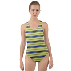 Color Line 3 Cut Out Back One Piece Swimsuit
