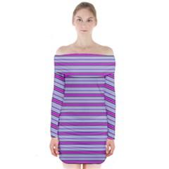 Color Line 4 Long Sleeve Off Shoulder Dress