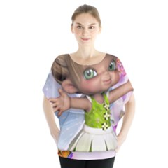 Butterfly On Flowers  Blouse