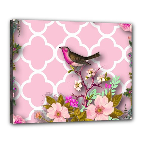 Shabby Chic,floral,bird,pink,collage Canvas 20  X 16