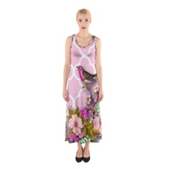 Shabby Chic,floral,bird,pink,collage Sleeveless Maxi Dress