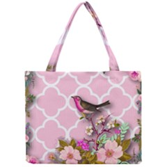 Shabby Chic,floral,bird,pink,collage Mini Tote Bag