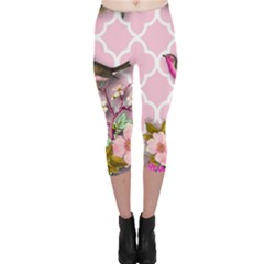 Shabby Chic,floral,bird,pink,collage Capri Leggings