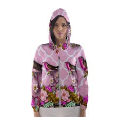 Shabby Chic,floral,bird,pink,collage Hooded Wind Breaker (women)