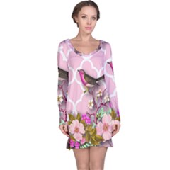 Shabby Chic,floral,bird,pink,collage Long Sleeve Nightdress