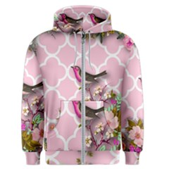 Shabby Chic,floral,bird,pink,collage Men s Zipper Hoodie