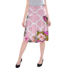 Shabby Chic,floral,bird,pink,collage Midi Beach Skirt
