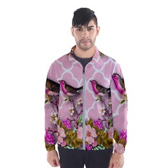 Shabby Chic,floral,bird,pink,collage Wind Breaker (men)