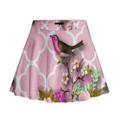 Shabby Chic,floral,bird,pink,collage Mini Flare Skirt