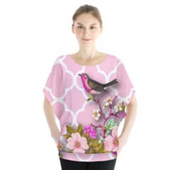 Shabby Chic,floral,bird,pink,collage Blouse