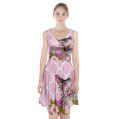 Shabby Chic,floral,bird,pink,collage Racerback Midi Dress