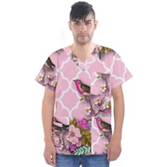 Shabby Chic,floral,bird,pink,collage Men s V Neck Scrub Top