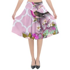 Shabby Chic,floral,bird,pink,collage Flared Midi Skirt