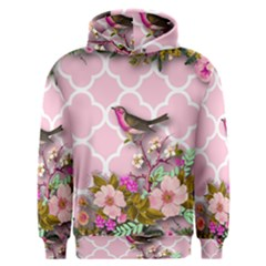 Shabby Chic,floral,bird,pink,collage Men s Overhead Hoodie