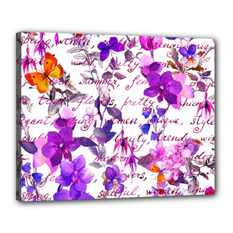 Ultra Violet,shabby Chic,flowers,floral,vintage,typography,beautiful Feminine,girly,pink,purple Canvas 20  X 16
