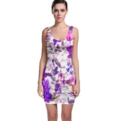 Ultra Violet,shabby Chic,flowers,floral,vintage,typography,beautiful Feminine,girly,pink,purple Bodycon Dress