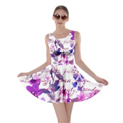 Ultra Violet,shabby Chic,flowers,floral,vintage,typography,beautiful Feminine,girly,pink,purple Skater Dress