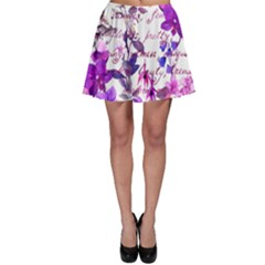 Ultra Violet,shabby Chic,flowers,floral,vintage,typography,beautiful Feminine,girly,pink,purple Skater Skirt
