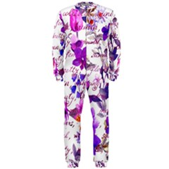 Ultra Violet,shabby Chic,flowers,floral,vintage,typography,beautiful Feminine,girly,pink,purple Onepiece Jumpsuit (men)