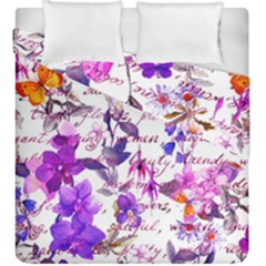 Ultra Violet,shabby Chic,flowers,floral,vintage,typography,beautiful Feminine,girly,pink,purple Duvet Cover Double Side (king Size)