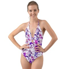 Ultra Violet,shabby Chic,flowers,floral,vintage,typography,beautiful Feminine,girly,pink,purple Halter Cut Out One Piece Swimsuit