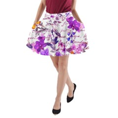 Ultra Violet,shabby Chic,flowers,floral,vintage,typography,beautiful Feminine,girly,pink,purple A Line Pocket Skirt