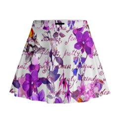 Ultra Violet,shabby Chic,flowers,floral,vintage,typography,beautiful Feminine,girly,pink,purple Mini Flare Skirt