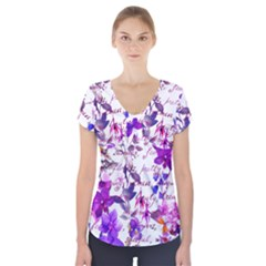 Ultra Violet,shabby Chic,flowers,floral,vintage,typography,beautiful Feminine,girly,pink,purple Short Sleeve Front Detail Top