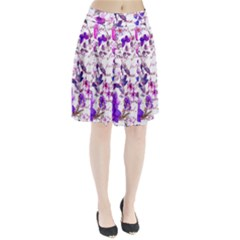 Ultra Violet,shabby Chic,flowers,floral,vintage,typography,beautiful Feminine,girly,pink,purple Pleated Skirt