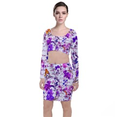 Ultra Violet,shabby Chic,flowers,floral,vintage,typography,beautiful Feminine,girly,pink,purple Long Sleeve Crop Top & Bodycon Skirt Set