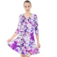 Ultra Violet,shabby Chic,flowers,floral,vintage,typography,beautiful Feminine,girly,pink,purple Quarter Sleeve Front Wrap Dress